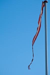 Dänische Flagge - damit man immer weiß, wie windig es ist.